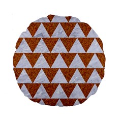 Triangle2 White Marble & Rusted Metal Standard 15  Premium Round Cushions by trendistuff
