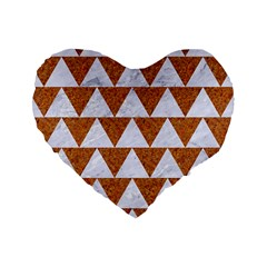 Triangle2 White Marble & Rusted Metal Standard 16  Premium Heart Shape Cushions by trendistuff