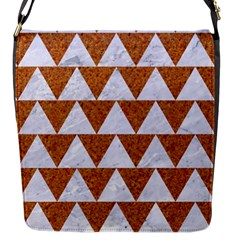 Triangle2 White Marble & Rusted Metal Flap Messenger Bag (s) by trendistuff