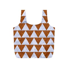 Triangle2 White Marble & Rusted Metal Full Print Recycle Bags (s)  by trendistuff