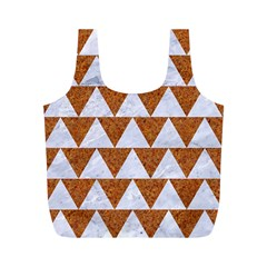 Triangle2 White Marble & Rusted Metal Full Print Recycle Bags (m)  by trendistuff