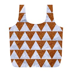 Triangle2 White Marble & Rusted Metal Full Print Recycle Bags (l)