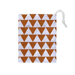 Triangle2 White Marble & Rusted Metal Drawstring Pouches (medium)
