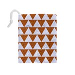 TRIANGLE2 WHITE MARBLE & RUSTED METAL Drawstring Pouches (Medium)  Back