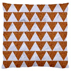 Triangle2 White Marble & Rusted Metal Large Flano Cushion Case (two Sides) by trendistuff