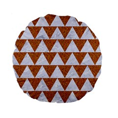 Triangle2 White Marble & Rusted Metal Standard 15  Premium Flano Round Cushions by trendistuff
