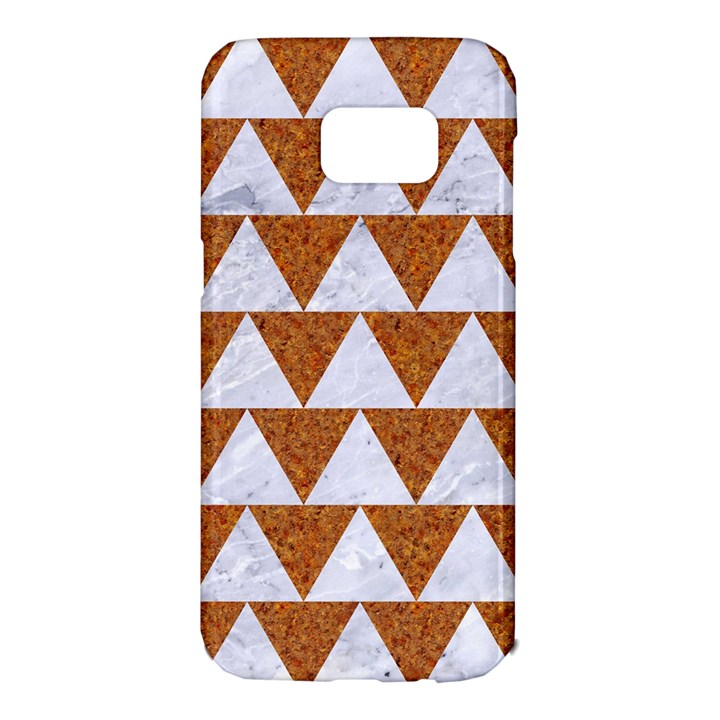 TRIANGLE2 WHITE MARBLE & RUSTED METAL Samsung Galaxy S7 Edge Hardshell Case