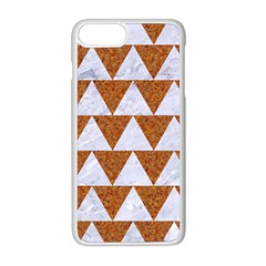 Triangle2 White Marble & Rusted Metal Apple Iphone 8 Plus Seamless Case (white) by trendistuff