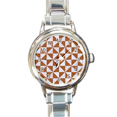Triangle1 White Marble & Rusted Metal Round Italian Charm Watch by trendistuff