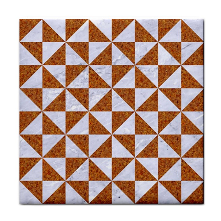 TRIANGLE1 WHITE MARBLE & RUSTED METAL Tile Coasters