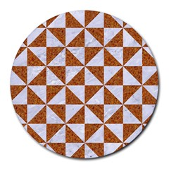 Triangle1 White Marble & Rusted Metal Round Mousepads