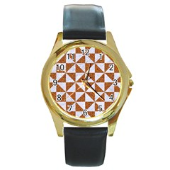 Triangle1 White Marble & Rusted Metal Round Gold Metal Watch by trendistuff