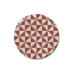 Triangle1 White Marble & Rusted Metal Rubber Coaster (round)  by trendistuff