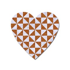 Triangle1 White Marble & Rusted Metal Heart Magnet by trendistuff