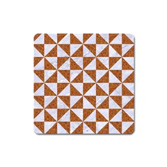 Triangle1 White Marble & Rusted Metal Square Magnet by trendistuff
