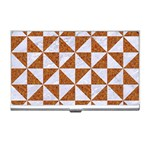 TRIANGLE1 WHITE MARBLE & RUSTED METAL Business Card Holders Front