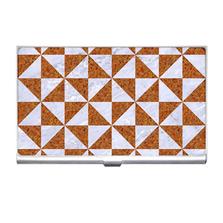 TRIANGLE1 WHITE MARBLE & RUSTED METAL Business Card Holders