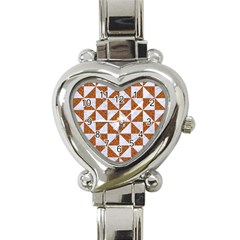 Triangle1 White Marble & Rusted Metal Heart Italian Charm Watch by trendistuff