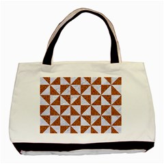Triangle1 White Marble & Rusted Metal Basic Tote Bag by trendistuff