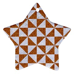 Triangle1 White Marble & Rusted Metal Star Ornament (two Sides) by trendistuff