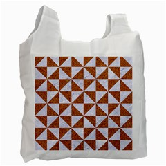 Triangle1 White Marble & Rusted Metal Recycle Bag (one Side) by trendistuff