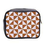 TRIANGLE1 WHITE MARBLE & RUSTED METAL Mini Toiletries Bag 2-Side Back