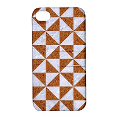 Triangle1 White Marble & Rusted Metal Apple Iphone 4/4s Hardshell Case With Stand by trendistuff