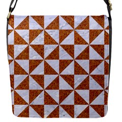 Triangle1 White Marble & Rusted Metal Flap Messenger Bag (s)