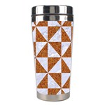 TRIANGLE1 WHITE MARBLE & RUSTED METAL Stainless Steel Travel Tumblers Left