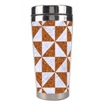 TRIANGLE1 WHITE MARBLE & RUSTED METAL Stainless Steel Travel Tumblers Right