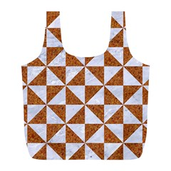 Triangle1 White Marble & Rusted Metal Full Print Recycle Bags (l)  by trendistuff