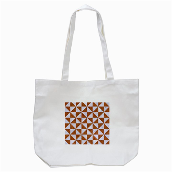 TRIANGLE1 WHITE MARBLE & RUSTED METAL Tote Bag (White)