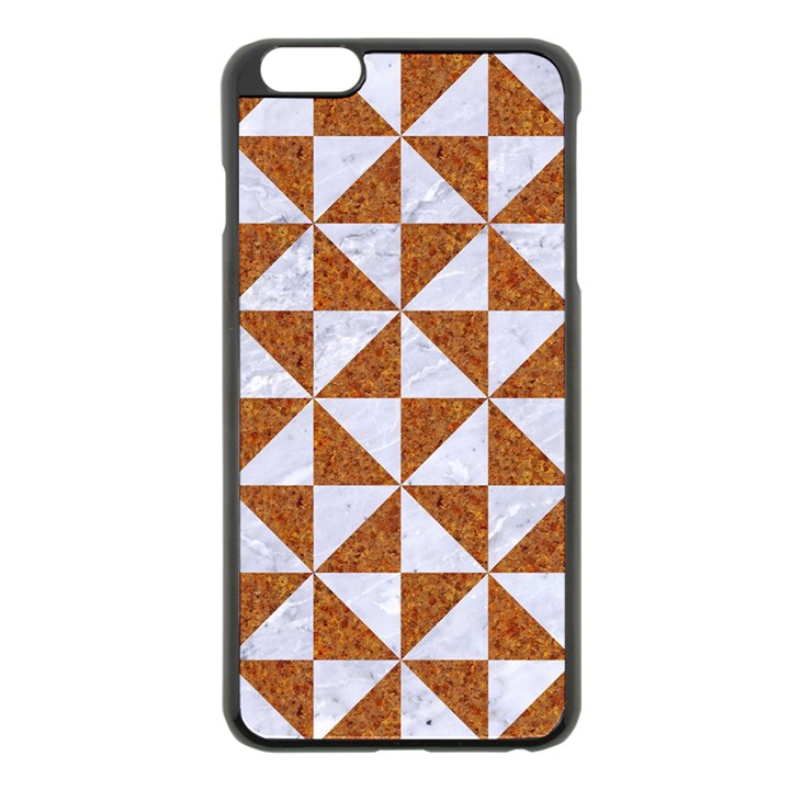 TRIANGLE1 WHITE MARBLE & RUSTED METAL Apple iPhone 6 Plus/6S Plus Black Enamel Case