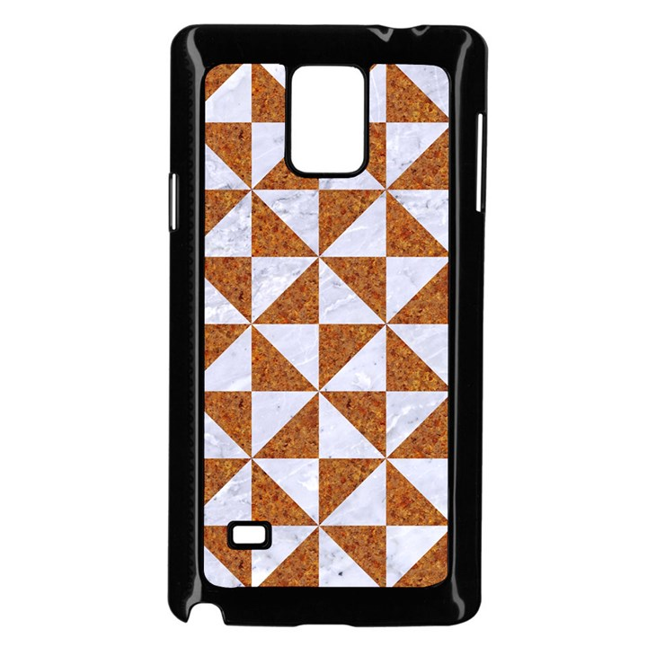 TRIANGLE1 WHITE MARBLE & RUSTED METAL Samsung Galaxy Note 4 Case (Black)