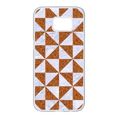 Triangle1 White Marble & Rusted Metal Samsung Galaxy S7 Edge White Seamless Case by trendistuff