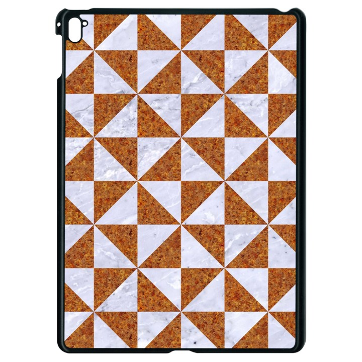 TRIANGLE1 WHITE MARBLE & RUSTED METAL Apple iPad Pro 9.7   Black Seamless Case