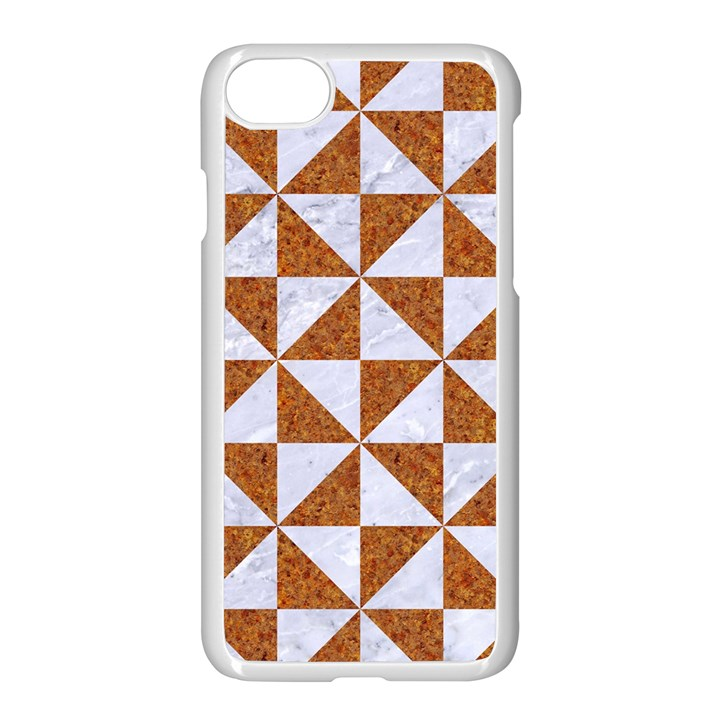 TRIANGLE1 WHITE MARBLE & RUSTED METAL Apple iPhone 8 Seamless Case (White)