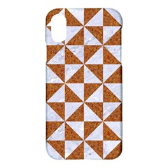 Triangle1 White Marble & Rusted Metal Apple Iphone X Hardshell Case by trendistuff