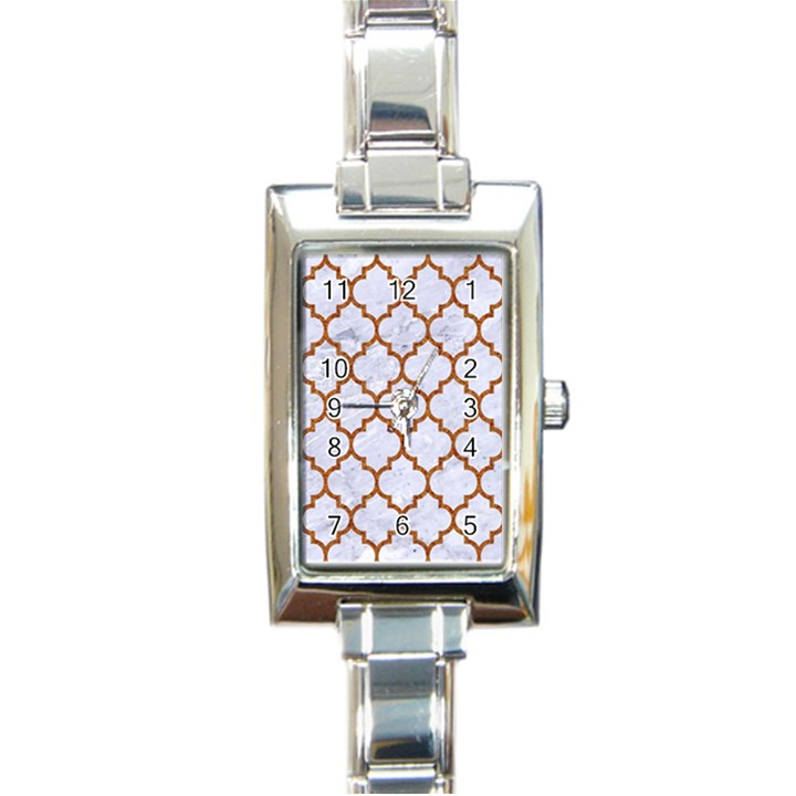 TILE1 WHITE MARBLE & RUSTED METAL (R) Rectangle Italian Charm Watch
