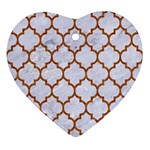 TILE1 WHITE MARBLE & RUSTED METAL (R) Ornament (Heart) Front