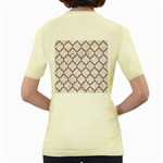 TILE1 WHITE MARBLE & RUSTED METAL (R) Women s Yellow T-Shirt Back