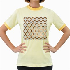 TILE1 WHITE MARBLE & RUSTED METAL (R) Women s Fitted Ringer T-Shirts