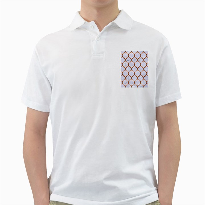 TILE1 WHITE MARBLE & RUSTED METAL (R) Golf Shirts