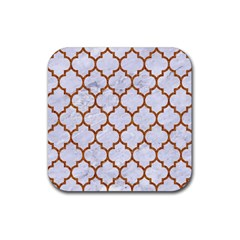 TILE1 WHITE MARBLE & RUSTED METAL (R) Rubber Square Coaster (4 pack)