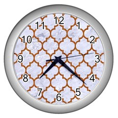 TILE1 WHITE MARBLE & RUSTED METAL (R) Wall Clocks (Silver)