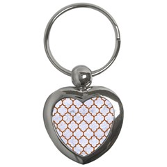 Tile1 White Marble & Rusted Metal (r) Key Chains (heart)  by trendistuff