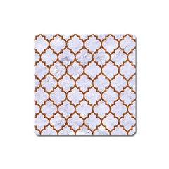 Tile1 White Marble & Rusted Metal (r) Square Magnet by trendistuff