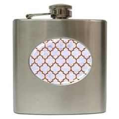 TILE1 WHITE MARBLE & RUSTED METAL (R) Hip Flask (6 oz)