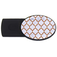 TILE1 WHITE MARBLE & RUSTED METAL (R) USB Flash Drive Oval (2 GB)