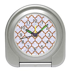 TILE1 WHITE MARBLE & RUSTED METAL (R) Travel Alarm Clocks